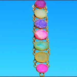 Jewelry - Gold & Druzy Gemstone Statement Bracelet
